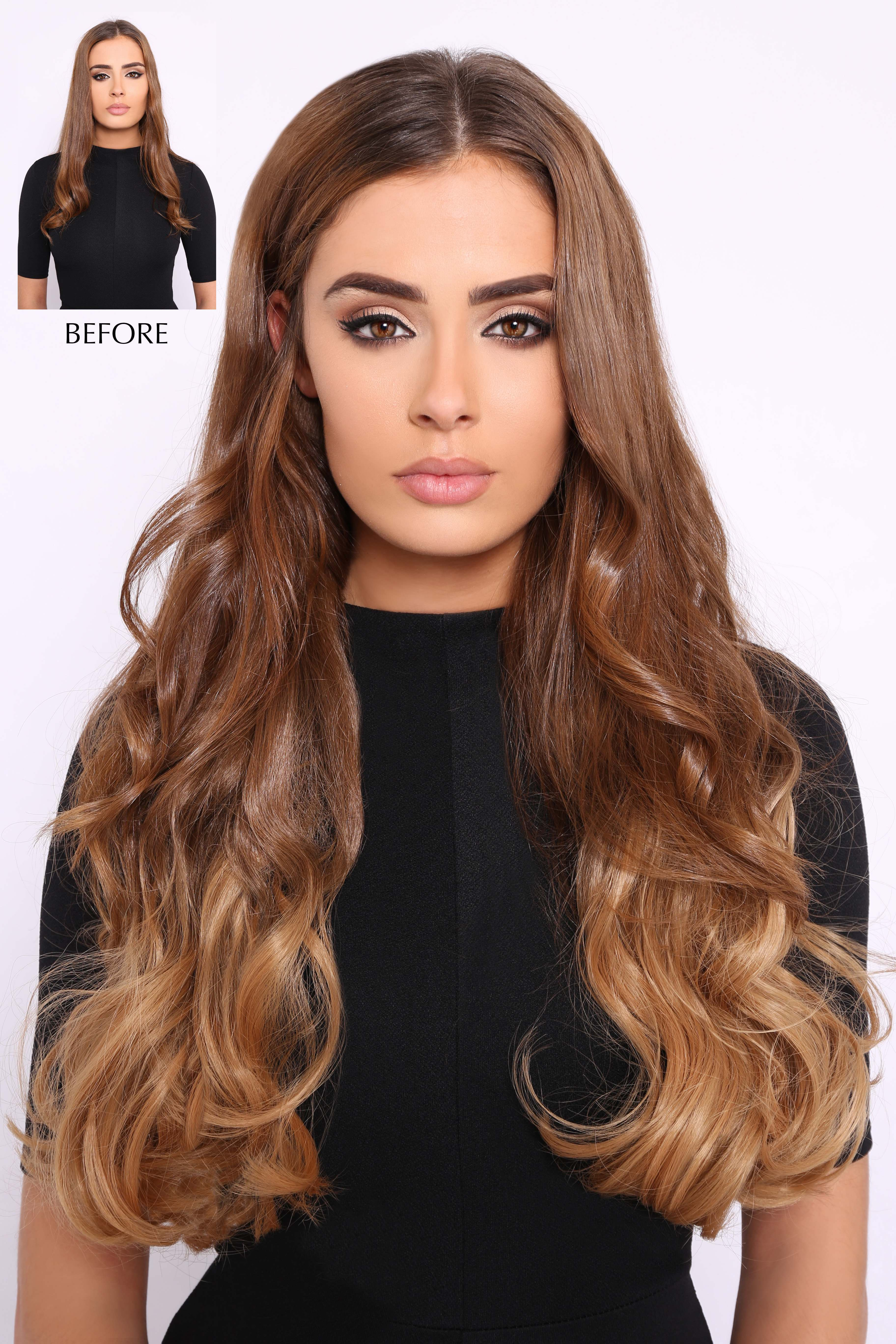One piece weft hair extensions lullabellz double thick wavy ombre hair extensions pmusecretfo Choice Image