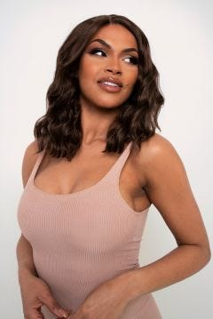 The Alexa - Tousled Chestnut Brown Lob Lace Front Wig