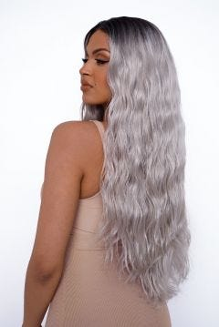 The Kimmy K - Platinum Long Textured Wave Lace Front Wig