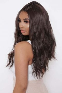 The Zara - Choc Brown Triple Root Braid, Half Up Half Down Tousled Lace Front Wig
