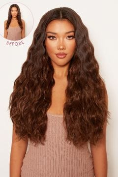 """Super Thick 22"""" 5 Piece Crimped Wavy Clip In Hair Extensions"""