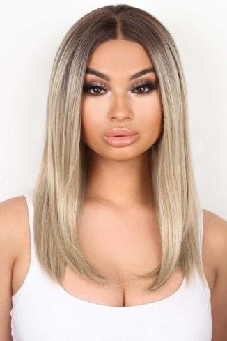 The Cali - Ash Blonde Straight Lob Lace Front Wig