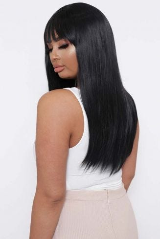 The Cleo - Jet Black Straight Fringe Front Wig