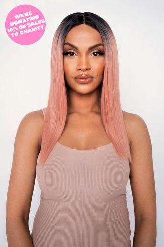 The Peachie - Peach Straight Lob Lace Front Wig