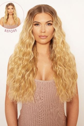 "Super Thick 22"" 5 Piece Crimped Wavy Clip In Hair Extensions"