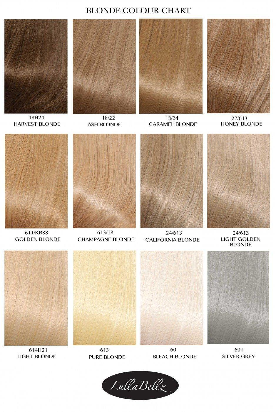 Blonde colour chart lullabellz