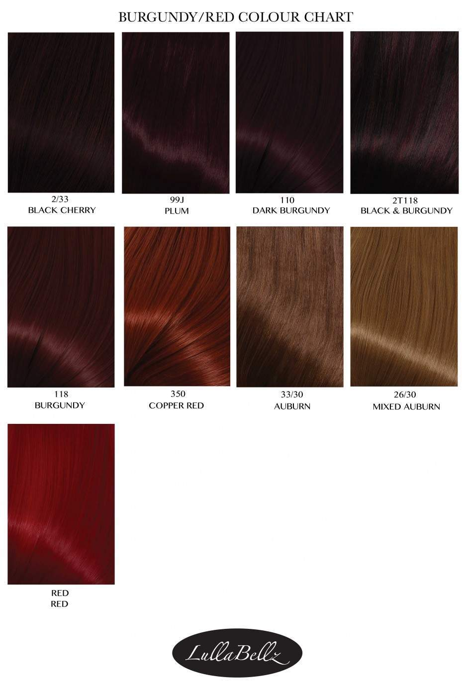 Burgundy Colour Chart Lullabellz